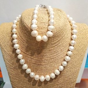 Комплект ожерелье и браслет из натурального жемчуга Odri Nice White