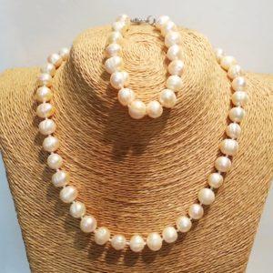 Комплект ожерелье и браслет из натурального жемчуга Odri Nice Rose