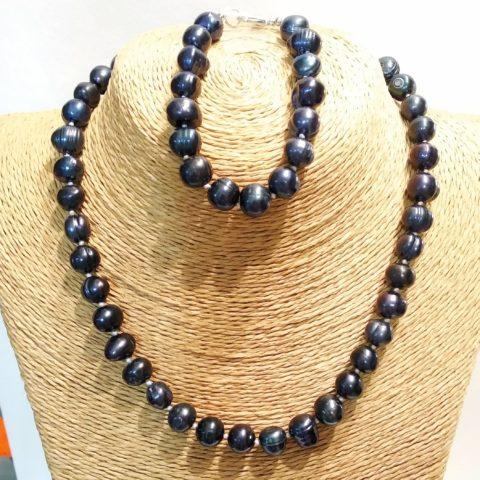Комплект ожерелье и браслет из натурального жемчуга Odri Nice Black
